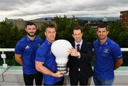 28 August 2018; At the announcement of Leinster Rugby's new innovation partnership with BearingPoint is Eric Conway, Partner and Country Leader of BearingPoint Ireland with Leinster Rugby players, from left, Robbie Henshaw along with Seán O'Brien and Rob Kearney. Management and technology consultancy BearingPoint today signed a five-year deal to become Leinster's Rugby's Official Innovation Partner. As Innovation Partner, BearingPoint will work with Leinster Rugby toward achieving its strategic organisational goals, including its ambitions to provide a best-in-class experience for rugby supporters at the RDS Arena, expand its fan-base and progress the use of data and analytics in both professional and domestic rugby. Photo by Ramsey Cardy/Sportsfile