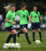 28 August 2018; Niamh Fahey, centre, with Harriet Scott, left, and Aine O'Gorman during Republic of Ireland training at the FAI National Training Centre in Abbotstown, Dublin. Photo by Stephen McCarthy/Sportsfile