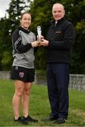 28 August 2018; Kylie Murphy of Wexford Youths is presented with her Continental Tyres Women's National League Player of the Month for July award by Tom Dennigan, of Continental Tyres Group, at IT Carlow in Carlow. Photo by Eóin Noonan/Sportsfile