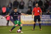 28 August 2018; Dylan Watts of Shamrock Rovers scores his side's second goal, from a penalty, during the SSE Airtricity Premier Division match between Dundalk and Shamrock Rovers at Oriel Park in Dundalk, Louth. Photo by Stephen McCarthy/Sportsfile