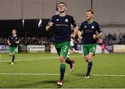 28 August 2018; Dylan Watts of Shamrock Rovers celebrates after scoring his side's second goal, from a penalty, during the SSE Airtricity Premier Division match between Dundalk and Shamrock Rovers at Oriel Park in Dundalk, Louth. Photo by Stephen McCarthy/Sportsfile
