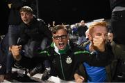 28 August 2018; Shamrock Rovers supporters celebrate their winning goal during the SSE Airtricity Premier Division match between Dundalk and Shamrock Rovers at Oriel Park in Dundalk, Louth. Photo by Stephen McCarthy/Sportsfile