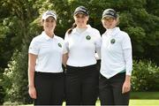 29 August 2018; Ireland team members, from left, Paula Grant, Olivia Mehaffey and Annabel Wilson after the team finished 3 under during day one of the 2018 World Amateur Team Golf Championships at Carton House in Maynooth, Co Kildare. Photo by Matt Browne/Sportsfile