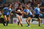 25 August 2018; Róisín Leonard of Galway in action against Dublin players, from left, Niamh Collins, Leah Caffrey and Siobhán McGrath during the TG4 All-Ireland Ladies Football Senior Championship Semi-Final match between Dublin and Galway at Dr Hyde Park in Roscommon. Photo by Piaras Ó Mídheach/Sportsfile