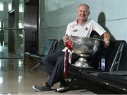 31 August 2018; Tyrone supporter Sean O'Neill, originally from Killeeshil, Co. Tyrone, now living in San Francisco, and home for the match, with the Sam Maguire Cup at the GAA Fáilte Abhaile event at Dublin Airport in Dublin. Photo by Seb Daly/Sportsfile