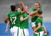 31 August 2018; Katie McCabe celebrates with her Republic of Ireland team-mates, from left, Rianna Jarrett, Niamh Fahey, Heather Payne and Harriet Scott, right, after scoring her side's second goal during the 2019 FIFA Women's World Cup Qualifier match between Republic of Ireland and Northern Ireland at Tallaght Stadium in Dublin. Photo by Stephen McCarthy/Sportsfile