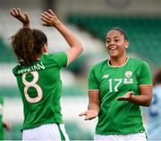 31 August 2018; Leanne Kiernan, left, celebrates after scoring her side's third goal with her Republic of Ireland team-mate Rianna Jarrett during the 2019 FIFA Women's World Cup Qualifier match between Republic of Ireland and Northern Ireland at Tallaght Stadium in Dublin. Photo by Stephen McCarthy/Sportsfile