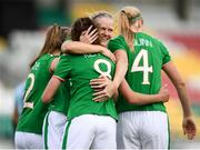 31 August 2018; Leanne Kiernan, 8, celebrates with her Republic of Ireland team-mates, Heather Payne, left, Diane Caldwell and Louise Quinn, right, after scoring her side's third during the 2019 FIFA Women's World Cup Qualifier match between Republic of Ireland and Northern Ireland at Tallaght Stadium in Dublin. Photo by Stephen McCarthy/Sportsfile