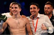 30 June 2018; Michael Conlan, left, brother Jamie Conlan, centre, and Ryan Burnett at the SSE Arena in Belfast. Photo by Ramsey Cardy/Sportsfile