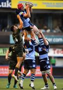 31 August 2018; Seb Davies of Cardiff Blues in action against Adam Byrne of Leinster during the Guinness PRO14 Round 1 match between Cardiff Blues and Leinster at the BT Cardiff Arms Park in Cardiff, Wales. Photo by Ramsey Cardy/Sportsfile