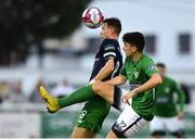 31 August 2018; Darragh Noone of Bray Wanderers in action against Ronan Finn of Shamrock Rovers during the SSE Airtricity League Premier Division match between Bray Wanderers and Shamrock Rovers at the Carlisle Grounds in Bray, Wicklow. Photo by Seb Daly/Sportsfile