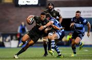 31 August 2018; Adam Byrne of Leinster is tackled by Lloyd Williams of Cardiff Blues during the Guinness PRO14 Round 1 match between Cardiff Blues and Leinster at the BT Cardiff Arms Park in Cardiff, Wales. Photo by Ramsey Cardy/Sportsfile