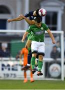 31 August 2018; Roberto Lopes of Shamrock Rovers in action against Jake Kelly of Bray Wanderers during the SSE Airtricity League Premier Division match between Bray Wanderers and Shamrock Rovers at the Carlisle Grounds in Bray, Wicklow. Photo by Seb Daly/Sportsfile