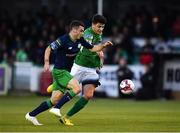 31 August 2018; Joel Coustrain of Shamrock Rovers in action against Darragh Noone of Bray Wanderers during the SSE Airtricity League Premier Division match between Bray Wanderers and Shamrock Rovers at the Carlisle Grounds in Bray, Wicklow. Photo by Seb Daly/Sportsfile