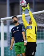 31 August 2018; Evan Moran of Bray Wanderers in action against Greg Bolger of Shamrock Rovers during the SSE Airtricity League Premier Division match between Bray Wanderers and Shamrock Rovers at the Carlisle Grounds in Bray, Wicklow. Photo by Seb Daly/Sportsfile