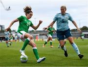 31 August 2018; Leanne Kiernan of Republic of Ireland in action against Julie Nelson of Northern Ireland during the 2019 FIFA Women's World Cup Qualifier match between Republic of Ireland and Northern Ireland at Tallaght Stadium in Dublin. Photo by Stephen McCarthy/Sportsfile