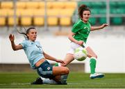 31 August 2018; Leanne Kiernan of Republic of Ireland in action against Laura Rafferty of Northern Ireland during the 2019 FIFA Women's World Cup Qualifier match between Republic of Ireland and Northern Ireland at Tallaght Stadium in Dublin. Photo by Stephen McCarthy/Sportsfile