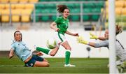 31 August 2018; Leanne Kiernan of Republic of Ireland in action against Laura Rafferty, left, and Jacqueline Burns of Northern Ireland during the 2019 FIFA Women's World Cup Qualifier match between Republic of Ireland and Northern Ireland at Tallaght Stadium in Dublin. Photo by Stephen McCarthy/Sportsfile