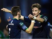 31 August 2018; Ronan Finn of Shamrock Rovers, right, is congratulated by team-mate Dylan Watts after scoiring his side's first goal during the SSE Airtricity League Premier Division match between Bray Wanderers and Shamrock Rovers at the Carlisle Grounds in Bray, Wicklow. Photo by Seb Daly/Sportsfile