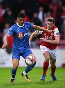 31 August 2018; Courtney Duffus of Waterford in action against Michael Leahy of St Patrick's Athletic during the SSE Airtricity League Premier Division match between St Patrick's Athletic and Waterford at Richmond Park in Dublin. Photo by Harry Murphy/Sportsfile