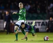 31 August 2018; Joel Coustrain of Shamrock Rovers in action against Kevin Lynch of Bray Wanderers during the SSE Airtricity League Premier Division match between Bray Wanderers and Shamrock Rovers at the Carlisle Grounds in Bray, Wicklow. Photo by Seb Daly/Sportsfile