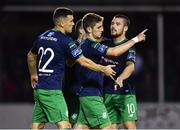 31 August 2018; Dylan Watts of Shsmrock Rovers, centre, is congratulated by team-mates Aaron Greene, left, and Brandon Miele, right, after scoring his side's second goal during the SSE Airtricity League Premier Division match between Bray Wanderers and Shamrock Rovers at the Carlisle Grounds in Bray, Wicklow. Photo by Seb Daly/Sportsfile