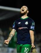 31 August 2018; Brandon Miele of Shamrock Rovers celebrates after scoring his side's third goal during the SSE Airtricity League Premier Division match between Bray Wanderers and Shamrock Rovers at the Carlisle Grounds in Bray, Wicklow. Photo by Seb Daly/Sportsfile