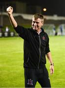 31 August 2018; Dundalk manager Stephen Kenny celebrates in front of Dundalk supporters after the SSE Airtricity League Premier Division match between Limerick and Dundalk at the Markets Field in Limerick. Photo by Diarmuid Greene/Sportsfile