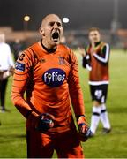 31 August 2018; Dundalk goalkeeper Gary Rogers celebrates in front of Dundalk supporters after the SSE Airtricity League Premier Division match between Limerick and Dundalk at the Markets Field in Limerick. Photo by Diarmuid Greene/Sportsfile