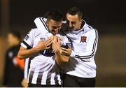 31 August 2018; Michael Duffy of Dundalk, left, looks at a mobile phone with team-mate Dylan Connolly after the SSE Airtricity League Premier Division match between Limerick and Dundalk at the Markets Field in Limerick. Photo by Diarmuid Greene/Sportsfile