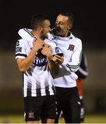 31 August 2018; Michael Duffy of Dundalk, left, celebrates with team-mate Dylan Connolly after the SSE Airtricity League Premier Division match between Limerick and Dundalk at the Markets Field in Limerick. Photo by Diarmuid Greene/Sportsfile