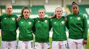 31 August 2018; Republic of Ireland players, from left, Diane Caldwell, Leanne Kiernan, Denise O'Sullivan, Tyler Toland and Rianna Jarrett during the 2019 FIFA Women's World Cup Qualifier match between Republic of Ireland and Northern Ireland at Tallaght Stadium in Dublin. Photo by Stephen McCarthy/Sportsfile