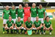 31 August 2018; The Republic of Ireland team, back row, from left, Tyler Toland, Niamh Fahey, Diane Caldwell, Amanda Budden, Louise Quinn and Rianna Jarrett, with, front row, Heather Payne, Harriet Scott, Katie McCabe, Denise O'Sullivan and Leanne Kiernan prior to the 2019 FIFA Women's World Cup Qualifier match between Republic of Ireland and Northern Ireland at Tallaght Stadium in Dublin. Photo by Stephen McCarthy/Sportsfile