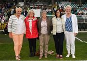 31 August 2018; Members of the Dundalk Ladies football team, from left, Paula Gorham, Marie Conway nee Bingham, Kay O'Connor, Margret Enright nee Murphy, Marie O'Connell who represented Ireland in a match against Corinthian Nomads of England, played in Wales in 1968, at half-time of the 2019 FIFA Women's World Cup Qualifier match between Republic of Ireland and Northern Ireland at Tallaght Stadium in Dublin. Photo by Stephen McCarthy/Sportsfile