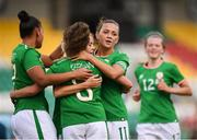 31 August 2018; Leanne Kiernan, 8, celebrates after scoring her side's third goal with her Republic of Ireland team-mates Rianna Jarrett, left, Denise O'Sullivan and Katie McCabe, right, during the 2019 FIFA Women's World Cup Qualifier match between Republic of Ireland and Northern Ireland at Tallaght Stadium in Dublin. Photo by Stephen McCarthy/Sportsfile