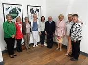 31 August 2018; The President of Ireland Michael D Higgins and his wife Sabina, Minister for Children and Youth Affairs Katherine Zappone, left, and FAI Board Member Niamh O'Donoghue, Chairperson of the Women's Football Committee, with members of the Dundalk Ladies football team, from left, Marie Conway nee Bingham, Kay O'Connor, Marie O'Connell, Margret Enright nee Murphy and Paula Gorham, who represented Ireland in a match against Corinthian Nomads of England, played in Wales in 1968, at half-time of the 2019 FIFA Women's World Cup Qualifier match between Republic of Ireland and Northern Ireland at Tallaght Stadium in Dublin. Photo by Stephen McCarthy/Sportsfile