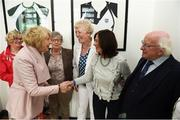 31 August 2018; Sabina Higgins, wife of The President of Ireland Michael D Higgins, meets Margaret Enright nee Murphy and her team-mates of the Dundalk Ladies football team who represented Ireland in a match against Corinthian Nomads of England, played in Wales in 1968, at half-time of the 2019 FIFA Women's World Cup Qualifier match between Republic of Ireland and Northern Ireland at Tallaght Stadium in Dublin. Photo by Stephen McCarthy/Sportsfile