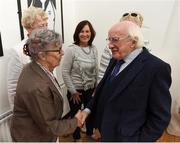 31 August 2018; The President of Ireland Michael D Higgins meets Kay O'Connor, a member of the Dundalk Ladies football team who represented Ireland in a match against Corinthian Nomads of England, played in Wales in 1968, at half-time of the 2019 FIFA Women's World Cup Qualifier match between Republic of Ireland and Northern Ireland at Tallaght Stadium in Dublin. Photo by Stephen McCarthy/Sportsfile