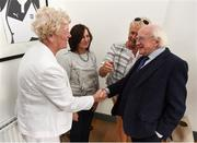 31 August 2018; The President of Ireland Michael D Higgins meets Marie O'Connell, left, in the company of Paula Gorham, right, and Margaret Enright nee Murphy, members of the Dundalk Ladies football team who represented Ireland in a match against Corinthian Nomads of England, played in Wales in 1968, at half-time of the 2019 FIFA Women's World Cup Qualifier match between Republic of Ireland and Northern Ireland at Tallaght Stadium in Dublin. Photo by Stephen McCarthy/Sportsfile