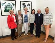 31 August 2018; The President of Ireland Michael D Higgins with, from left, Marie Conway nee Bingham, Kay O'Connor, Marie O'Connell, Margaret Enright nee Murphy and Paula Gorham, members of the Dundalk Ladies football team who represented Ireland in a match against Corinthian Nomads of England, played in Wales in 1968, at half-time of the 2019 FIFA Women's World Cup Qualifier match between Republic of Ireland and Northern Ireland at Tallaght Stadium in Dublin. Photo by Stephen McCarthy/Sportsfile