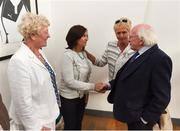 31 August 2018; The President of Ireland Michael D Higgins meets Margaret Enright nee Murphy, in the company of Paula Gorham, right, and Marie O'Connell, left, members of the Dundalk Ladies football team who represented Ireland in a match against Corinthian Nomads of England, played in Wales in 1968, at half-time of the 2019 FIFA Women's World Cup Qualifier match between Republic of Ireland and Northern Ireland at Tallaght Stadium in Dublin. Photo by Stephen McCarthy/Sportsfile