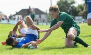 1 September 2018; Michael McGiff of Leinster scores his side's fifth try despite the attempted tackles from Oran McNulty, left, and Dylan Prendergast of Connacht during the U19 Interprovincial Championship match between Leinster and Connacht at Galwegians RFC in Galway. Photo by David Fitzgerald/Sportsfile