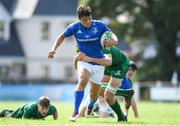 1 September 2018; Luis Faria of Leinster is tackled by Lucas Culliton of Connacht during the U19 Interprovincial Championship match between Leinster and Connacht at Galwegians RFC in Galway. Photo by David Fitzgerald/Sportsfile