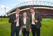 1 September 2018; Former Ulster player Tommy Bowe along with former Munster players Peter Stringer and Donncha O'Callaghan, on duty for Eir Sport, prior to the Guinness PRO14 Round 1 match between Munster and Toyota Cheetahs at Thomond Park in Limerick. Photo by Diarmuid Greene/Sportsfile