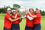 1 September 2018; USA players, from left, Lilia Vu, team captain Stacey Collins, Jennifer Kupcho and Kristen Gillman with the Espirito Santo Trophy after the 2018 World Amateur Team Golf Championships at Carton House in Maynooth, Co Kildare. Photo by Matt Browne/Sportsfile