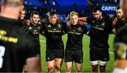 31 August 2018; Leinster players, from left, Fergus McFadden, Andrew Porter, James Tracy, Mick Kearney and Caelan Doris following the Guinness PRO14 Round 1 match between Cardiff Blues and Leinster at the BT Cardiff Arms Park in Cardiff, Wales. Photo by Ramsey Cardy/Sportsfile