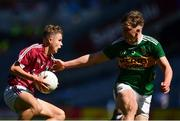 2 September 2018; Daniel Cox of Galway in action against Colm Moriarty of Kerry during the Electric Ireland GAA Football All-Ireland Minor Championship Final match between Kerry and Galway at Croke Park in Dublin. Photo by Seb Daly/Sportsfile