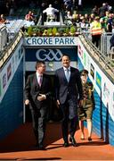 2 September 2018; Ard Stiúrthóir  Chumann Luthchleas Gael Tom Ryan, left, and An Taoiseach Leo Varadkar, T.D. prior to the Electric Ireland GAA Football All-Ireland Minor Championship Final match between Kerry and Galway at Croke Park in Dublin. Photo by Seb Daly/Sportsfile