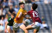 2 September 2018; Marc Kelliher of Kerry saves a shot on goal from Eoghan Tinney of Galway during the Electric Ireland GAA Football All-Ireland Minor Championship Final match between Kerry and Galway at Croke Park in Dublin. Photo by Eóin Noonan/Sportsfile