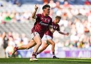 2 September 2018; Tony Gill of Galway celebrates after scoring his side's first goal during the Electric Ireland GAA Football All-Ireland Minor Championship Final match between Kerry and Galway at Croke Park in Dublin. Photo by Eóin Noonan/Sportsfile
